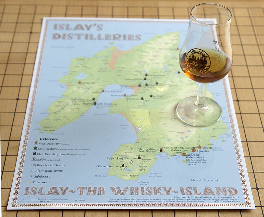 whisky distilleries islay tasting map 24x34cm