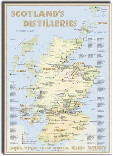 Whisky Distilleries Scotland - Leinwand 50x70cm