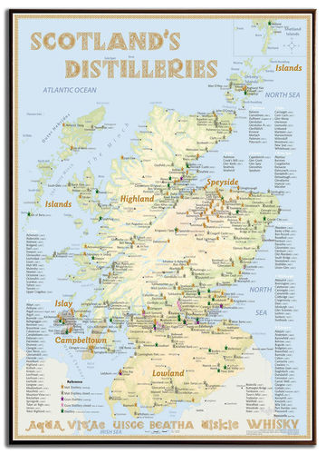 Whisky Distilleries Scotland - Frame 70x100cm