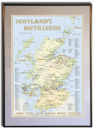 Whisky Distilleries Scotland - Frame 50x70cm