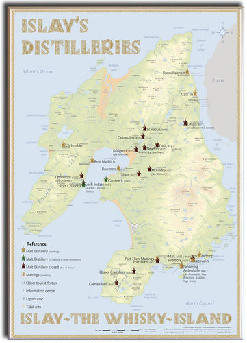 Whisky Distilleries Islay - Leinwand 50x70cm