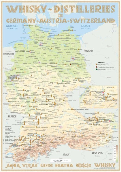 Map Of Germany Austria And Switzerland.Whisky Distilleries Germany Austria And Switzerland Poster 42x60cm Standard Edition