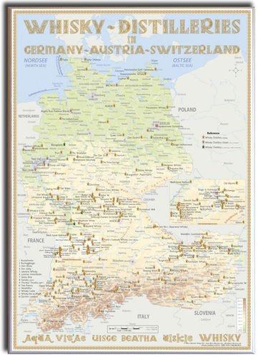 Whisky Distilleries Germany, Austria and Switzerland - Canvas 50x70cm