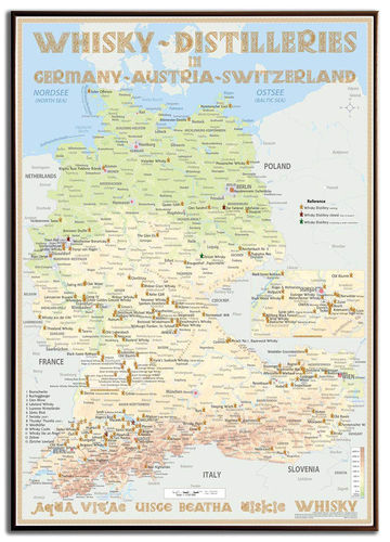 Whisky Distilleries Germany, Austria and Switzerland - Frame 70x100cm