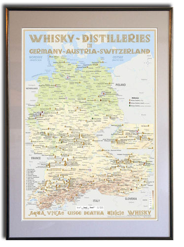 Whisky Distilleries Germany, Austria and Switzerland - Frame 50x70cm