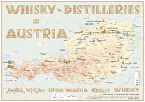 Whisky Distilleries Austria - Tasting Map 34x24cm