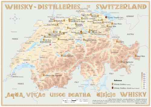 Whisky Distilleries Switzerland - Tasting Map 34x24cm