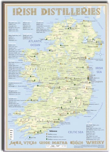 Whiskey Distilleries Ireland - Leinwand 50x70cm