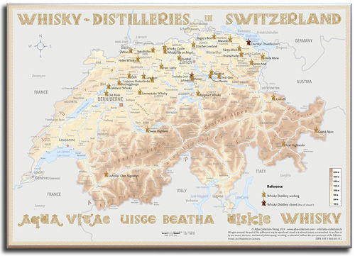 Whisky Distilleries Switzerland - Canvas 70x50cm