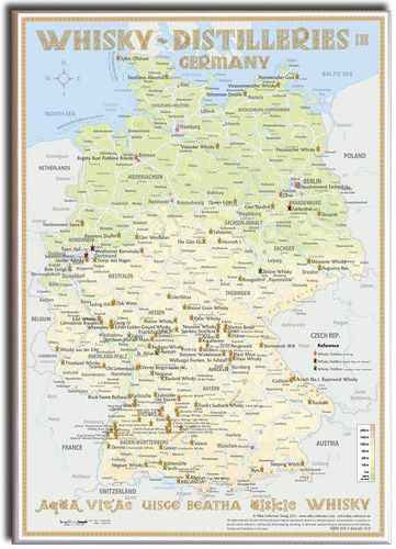 Whisky Distilleries Germany - Canvas 70x100cm