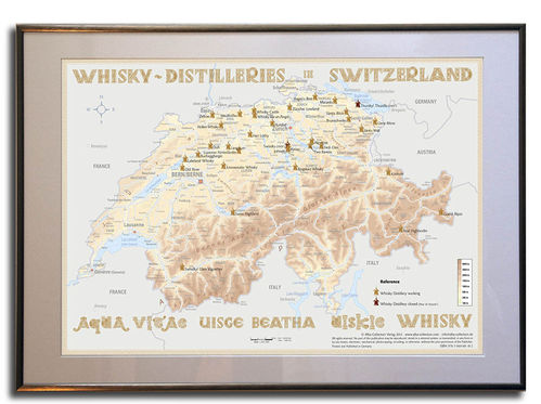 Whisky Distilleries Switzerland - Frame 70x50cm