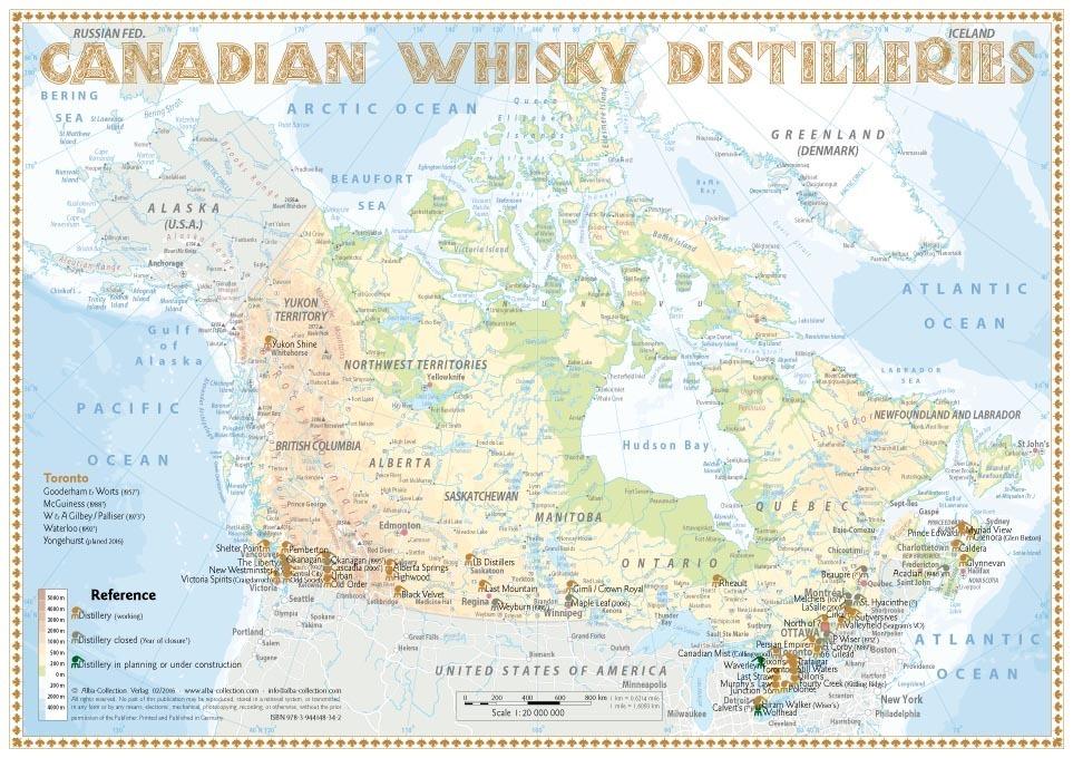 whisky distilleries canada tasting map 34x24cm