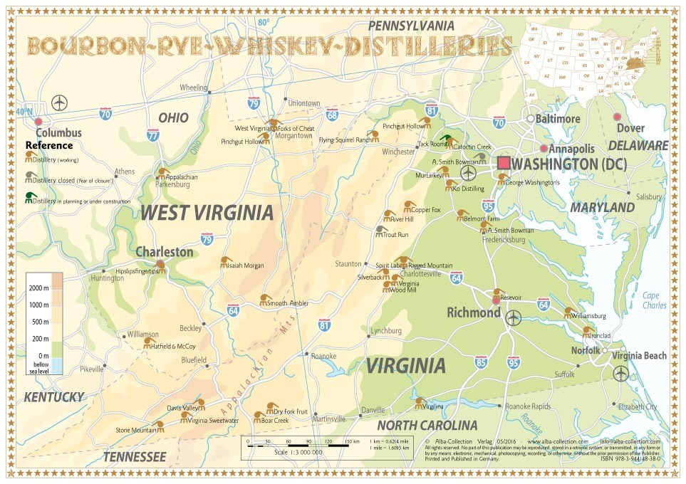 Distilleries Virginia And West Virginia Tasting Map Xcm - Virginia usa map
