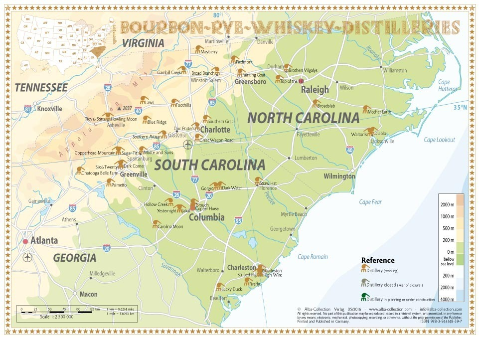 Whiskey Distilleries North and South Carolina - Tasting Map 34x24cm