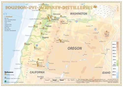 Whiskey Distilleries Oregon - Tasting Map 34x24cm