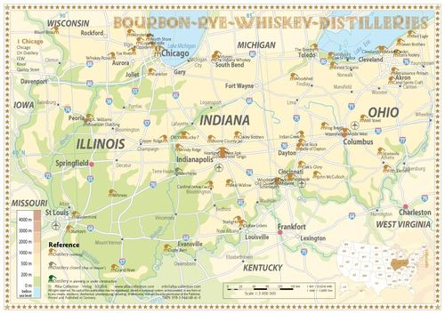 Whiskey Distilleries Ohio, Indiana and Illinois - Tasting Map 34x24cm