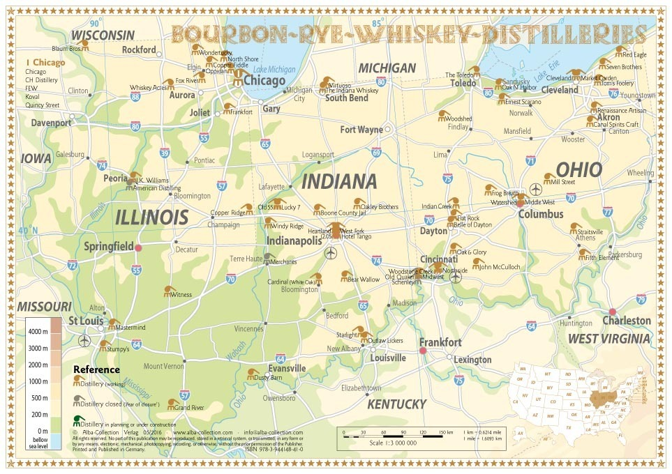Whiskey Distilleries Ohio, Indiana and Illinois - Tasting Map 34x24cm