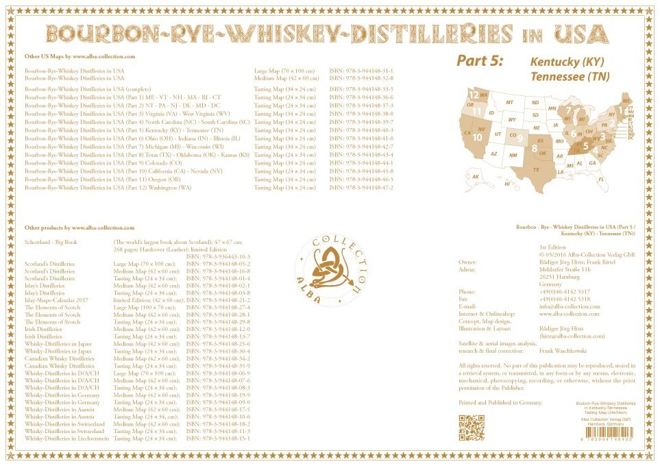 whiskey distilleries kentucky and tennessee tasting map 34x24cm