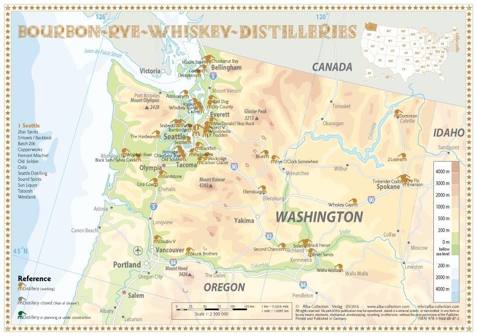 Whiskey Distilleries Washington Tasting Map 34x24cm