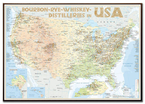 Whiskey Distilleries USA - Rahmen 100x70cm