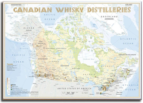 Whisky Distilleries Canada - Leinwand 70x50cm