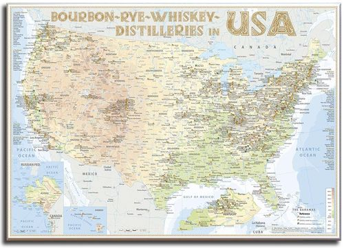 Whiskey Distilleries USA - Leinwand 100x70cm