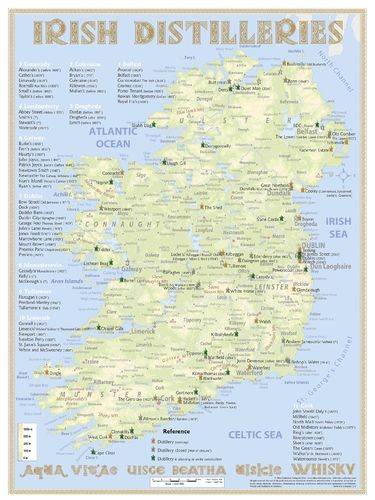 Whiskey Distilleries Ireland - RollUP 200x150cm