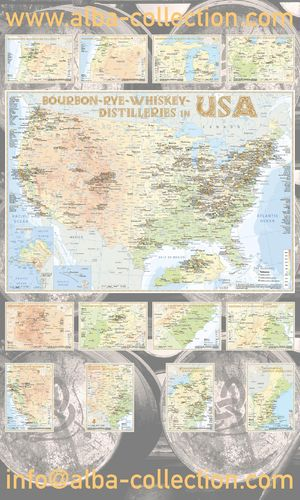 Whiskey Distilleries USA - RollUP 200x120cm
