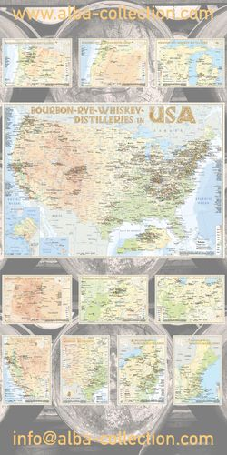 Whiskey Distilleries USA - RollUP 200x100cm