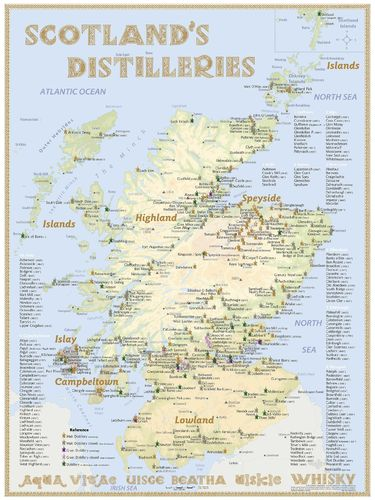 Whisky Distilleries Scotland - RollUP 200x150cm