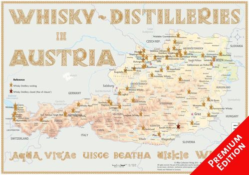 Whisky Distilleries Austria - Poster 60x42cm Premium Edition