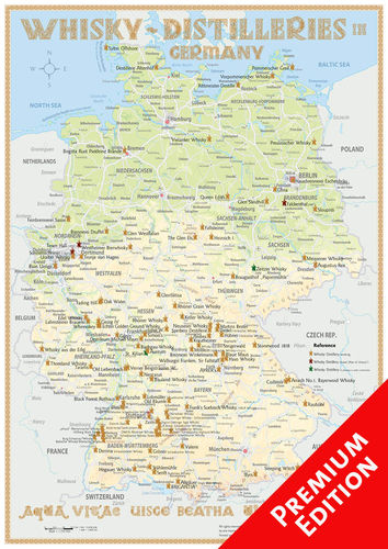 Whisky Distilleries Germany - Poster 42x60cm Premium Edition