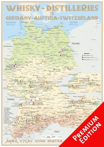 Whisky Distilleries Germany, Austria and Switzerland - Poster 42x60cm Premium Edition
