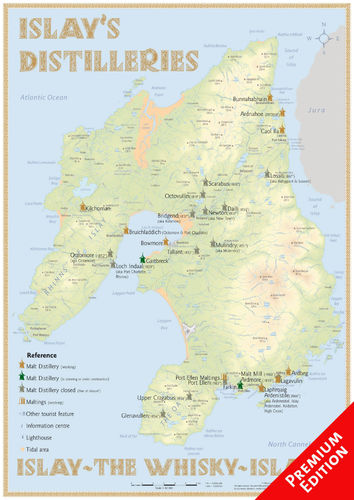 Whisky Distilleries Islay - Poster 42x60cm Premium Edition