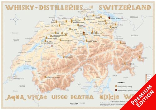 Whisky Distilleries Switzerland - Poster 60x42cm Premium Edition