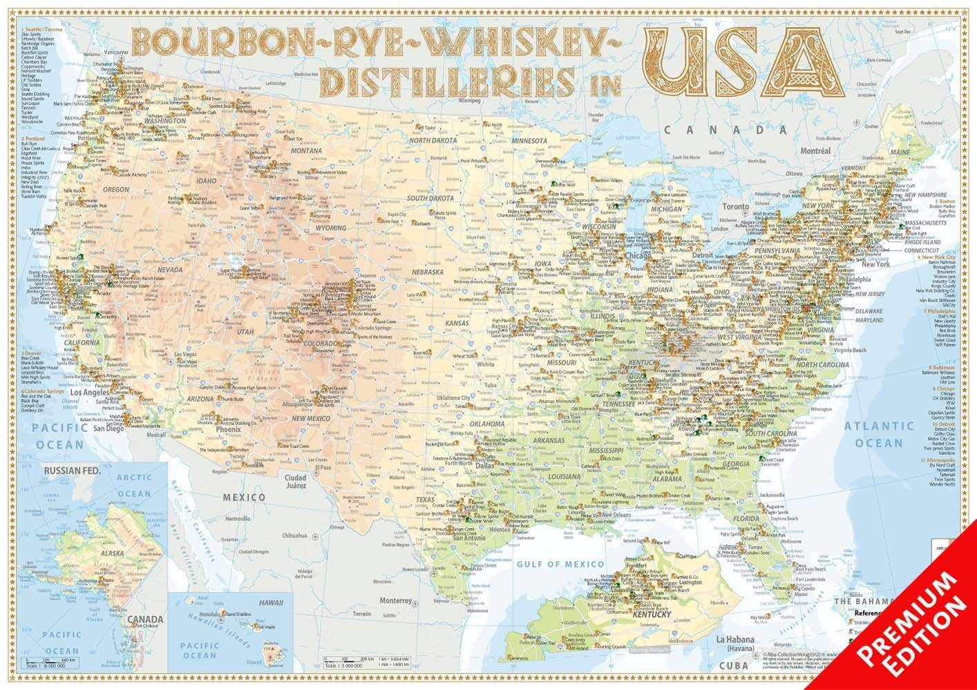whiskey distilleries usa poster 60x42cm premium edition. Black Bedroom Furniture Sets. Home Design Ideas