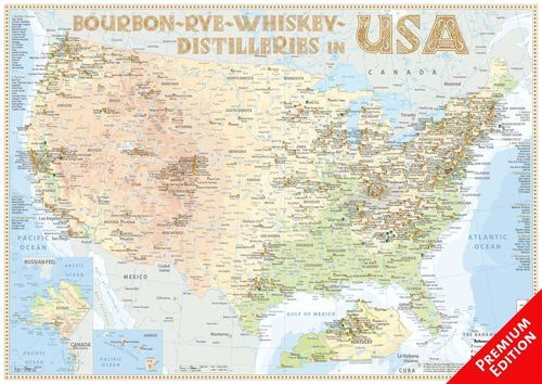 Whiskey Distilleries USA - Poster 60x42cm Premium Edition