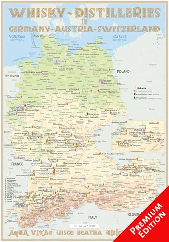 Whisky Distilleries Germany, Austria and Switzerland - Poster 70x100cm Premium Edition