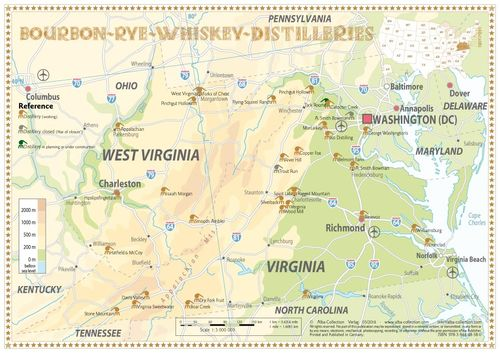 Whiskey Distilleries Virginia and West Virginia - Tasting Map 34x24cm