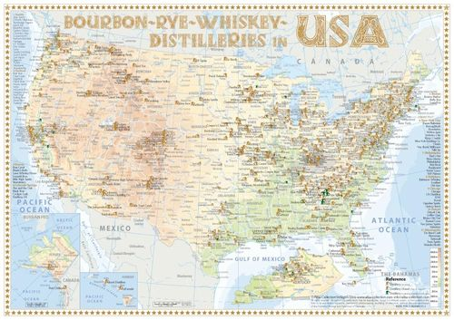 Whiskey Distilleries USA - Tasting Map 34x24cm