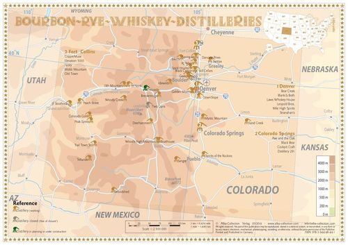 Whiskey Distilleries Colorado - Tasting Map 34x24cm