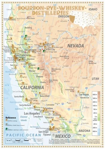 Whiskey Distilleries California and Nevada - Tasting Map 24x34cm