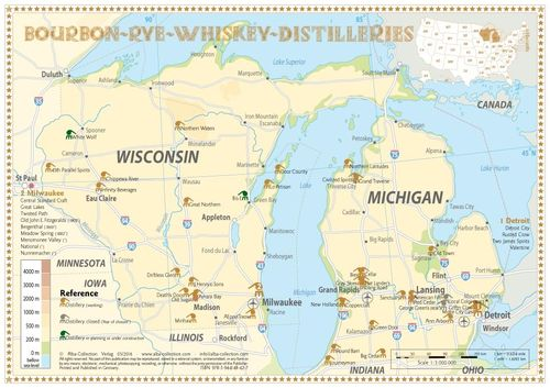 Whiskey Distilleries Michigan and Wisconsin - Tasting Map 34x24cm
