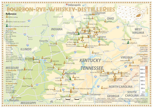 Whiskey Distilleries Kentucky and Tennessee - Tasting Map 34x24cm
