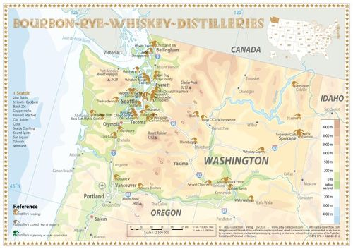 Whiskey Distilleries Washington - Tasting Map 34x24cm
