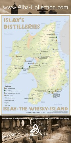 Whisky Distilleries Islay - Rollup 200x100cm