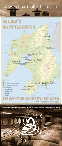 Whisky Distilleries Islay - Rollup 200x85cm