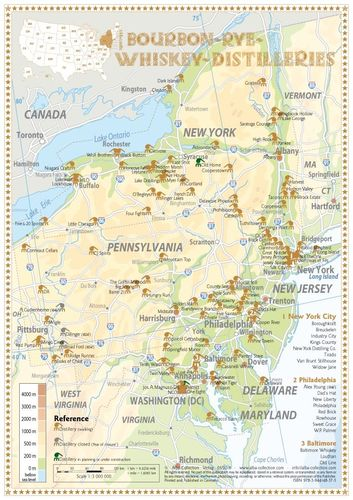 Whiskey Distilleries NY, PA, NJ, DE, MD and DC - Tasting Map 24x34cm