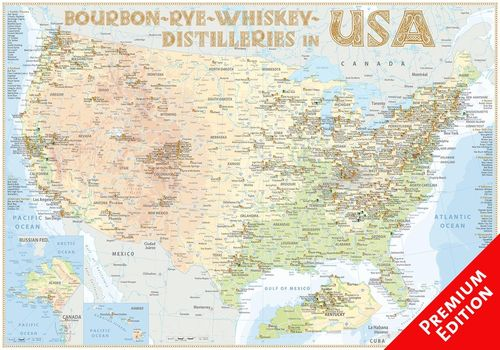Whiskey Distilleries USA - Poster 100x70cm Premium Edition