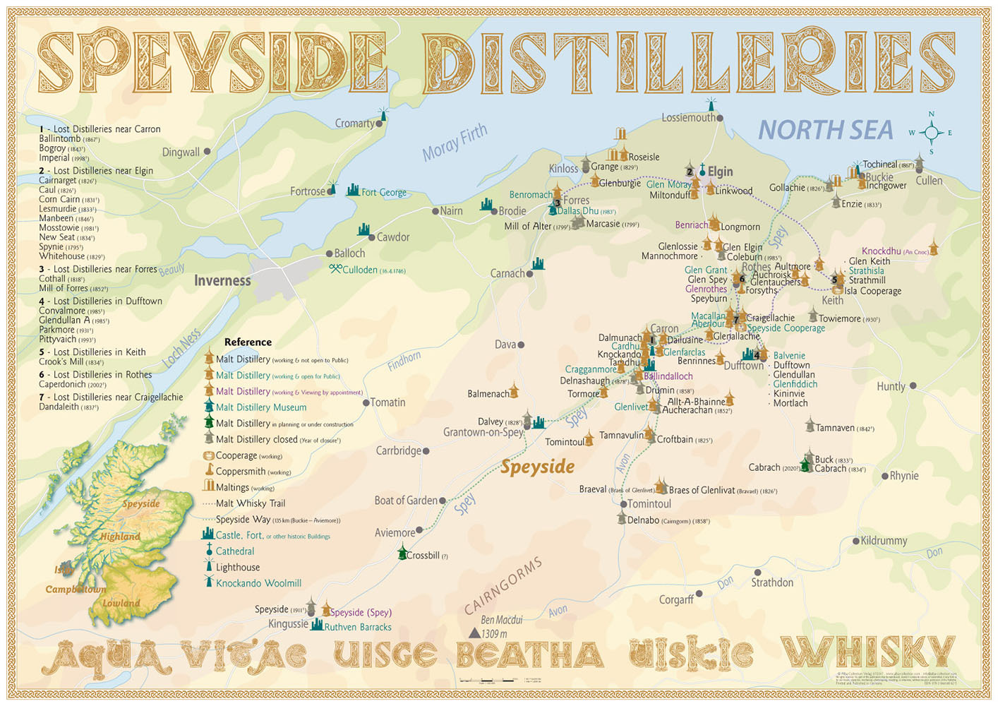 Whisky Distilleries Speyside - Tasting Map